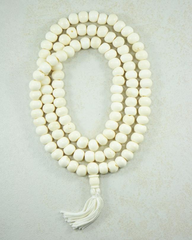 Tibetan Yak Bone 108 Beads Mala Silver Trendz